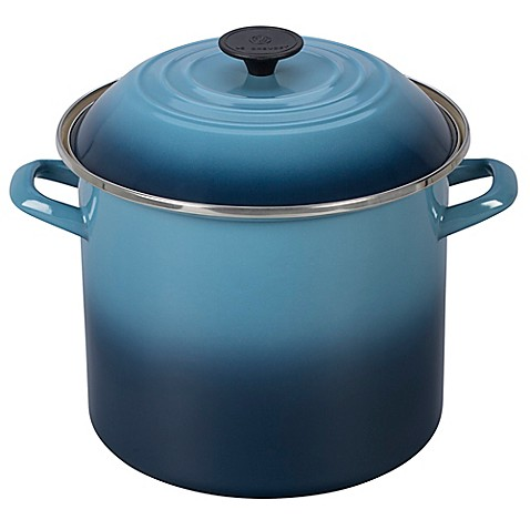 buy le creuset 10 qt stock pot in marine from bed bath beyond. Black Bedroom Furniture Sets. Home Design Ideas