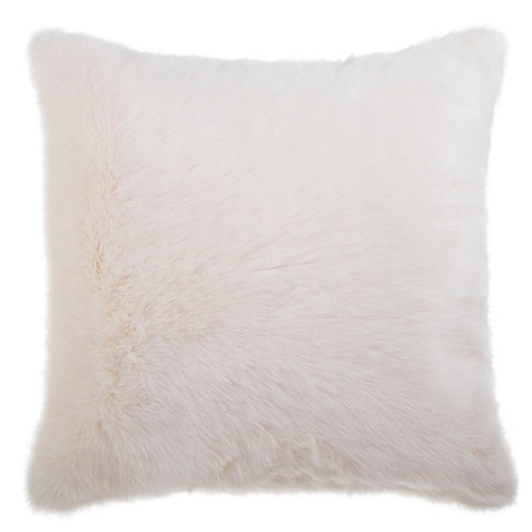Faux fur square throw pillow in white bed bath beyond for White faux fur pillow