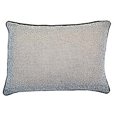 image of Beaded Linen Oblong Throw Pillow in Wheat