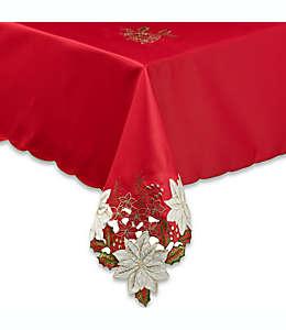 Mantel rectangular decorado con flores de noche buena, Kori 1.52 x 2.64 m en rojo