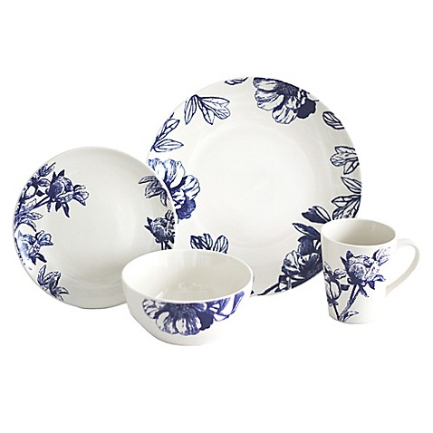 Baum Botanical 16-Piece Dinnerware Set in Blue/Ivory - Bed Bath & Beyond