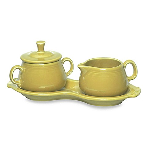 Fiesta 174 Sugar And Creamer Set With Tray In Sunflower Bed