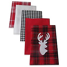 image of Design Imports  Buffalo Check Reindeer Kitchen Towels in Red/Black (Set of 5)