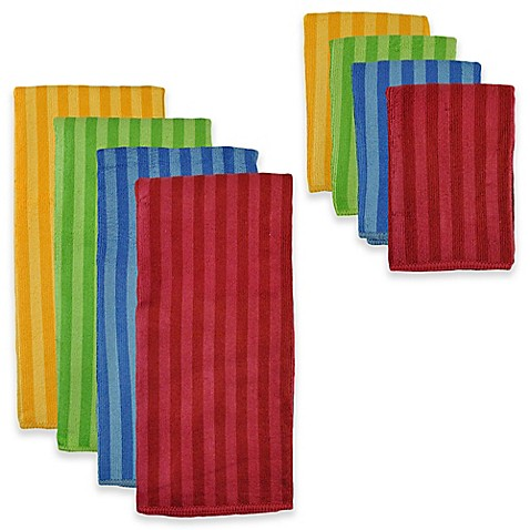 Design Imports 8 Piece Microfiber Stripe Kitchen Towel And Dish Cloth Set In Primary Multi Bed