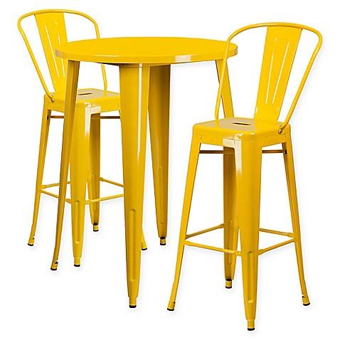 Buy Flash Furniture 3 Piece 30 Inch Round Metal Bar Table