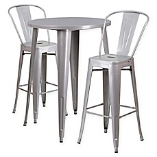 image of flash furniture 3piece 30inch round metal bar table and bistro