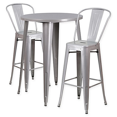 Flash Furniture 3 Piece 30 Inch Round Metal Bar Table And