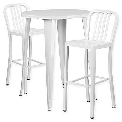 buy flash furniture 3 piece 30 inch round metal bar table and industrial stools set in white. Black Bedroom Furniture Sets. Home Design Ideas