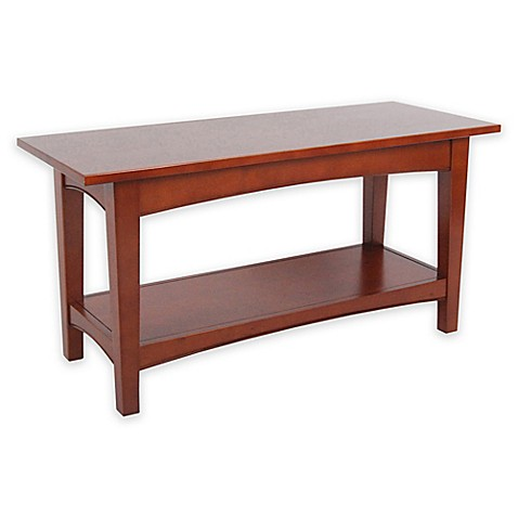 Buy Alaterre Shaker Cottage Bench With Shelf In Cherry From Bed Bath Beyond