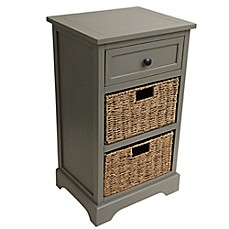 image of Decor Therapy Side Table Storage Chest in Antique Grey