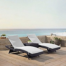 Crosley Biscayne All Weather Wicker Chaise Lounge With White Cushions