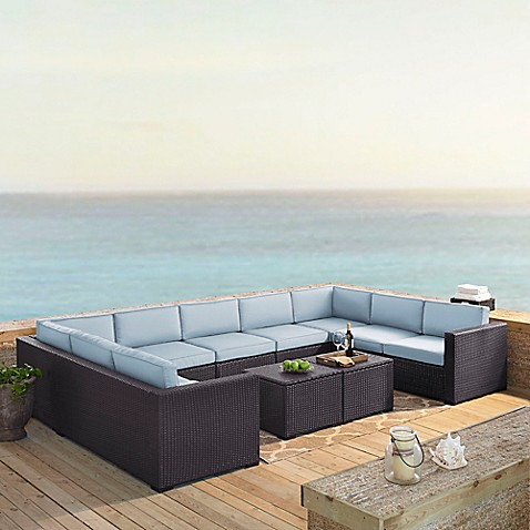 Biscayne  Piece Wicker Sectional Seating Patio Furniture Set
