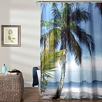 Lush Decor 70 Inch X 72 Beach Palm Tree Shower Curtain In Blue