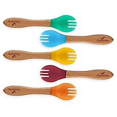 image of Avanchy Bamboo + Silicone Toddler Feeding Forks in Blue (Set of 5)