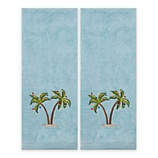 Image Of Saturday Knight 2 Piece Coastal Palm Hand Towel Set In Teal