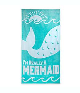Toalla de playa grande Mermaid Jacquard en turquesa/blanco