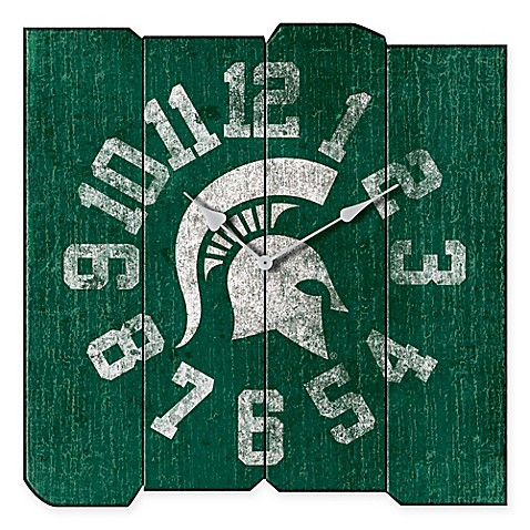 Michigan State University Vintage Square Wall Clock Bed Bath Beyond