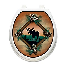 image of Toilet Tattoos® Moose at Sunset Decorative Appliqué for Round Toilet Lids