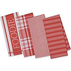 design imports 4 piece gourmet patterned kitchen towel set - Kitchen Towel Sets
