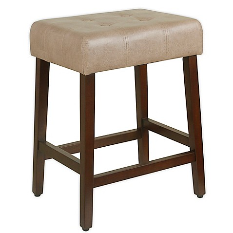 Homepop Tufted Backless Counter Stool In Taupe Bed Bath