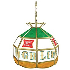 image of Miller High Life® 1-Light Stained Glass Billiard Lamp