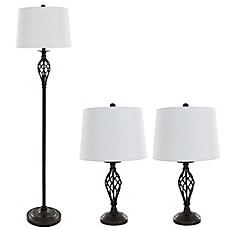 Image Of Nottingham Home 3 Piece Spiral Table And Floor Lamp In Black