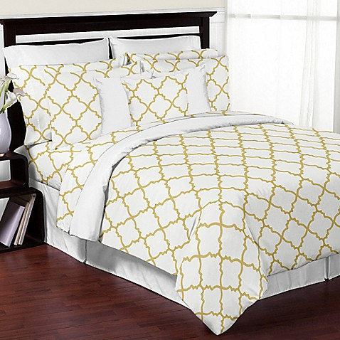 buy sweet jojo designs trellis 3 piece full queen comforter set in white gold from bed bath beyond. Black Bedroom Furniture Sets. Home Design Ideas