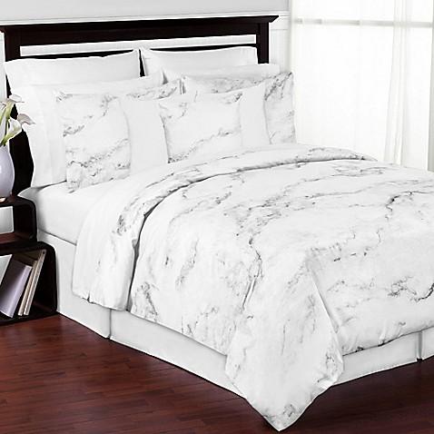 Sweet Jojo Designs Marble Comforter Set In Black/White
