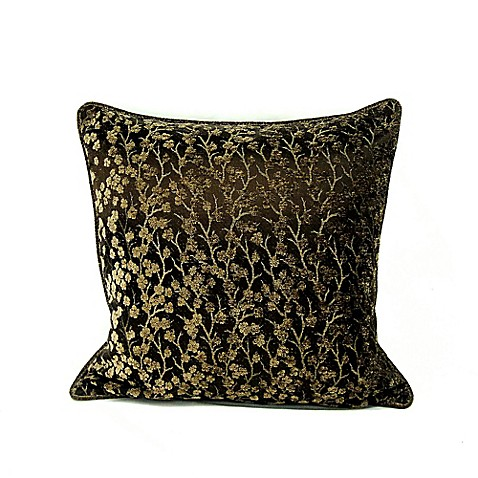 Cherry Blossom Square Throw Pillow In Bronze