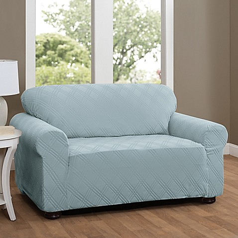 Buy double diamond loveseat stretch slipcover in spa blue from bed bath beyond Blue loveseat slipcover