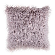 Mongolian Faux Fur Square Throw Pillow in Rose