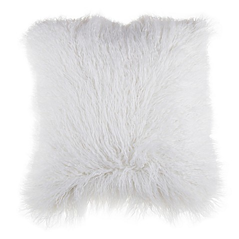 Mongolian Faux Fur Square Throw Pillow in Ivory