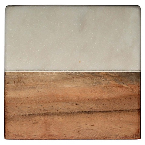 Thirstystone 174 White Marble And Acacia Single Square