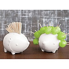 image of Talisman Designs Porcupine Ceramic Toothpick Holder in White