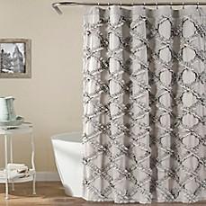 Lush Decor 72 Inch X Ruffle Diamond Shower Curtain