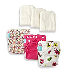 image of Charlie Banana® 9-Piece Patented Reusable One Size Hybrid AIO Diapers in Bloom