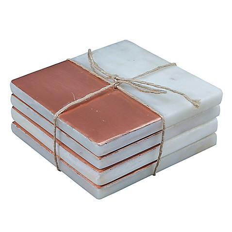 buy thirstystone square copper plated marble coaster in white set of 4 from bed bath beyond. Black Bedroom Furniture Sets. Home Design Ideas