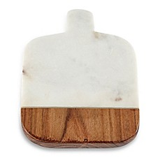 image of Thirstystone® White Marble and Wood Paddle Coasters (Set of 4)