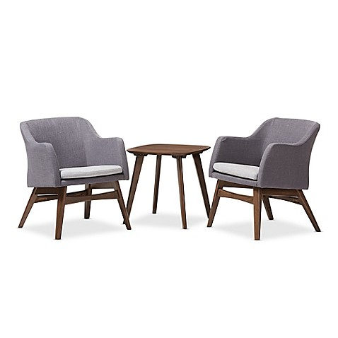 Baxton Studio Vera 3 Piece Lounge Chair And Table Set In Grey/Walnut