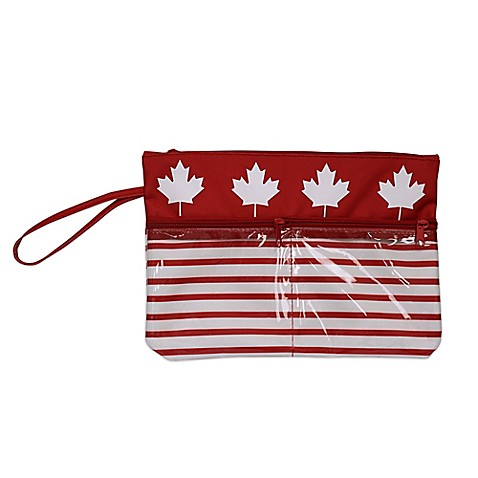 Maple Leaf Swimsuit Sack With Clear Vinyl Storage Pockets