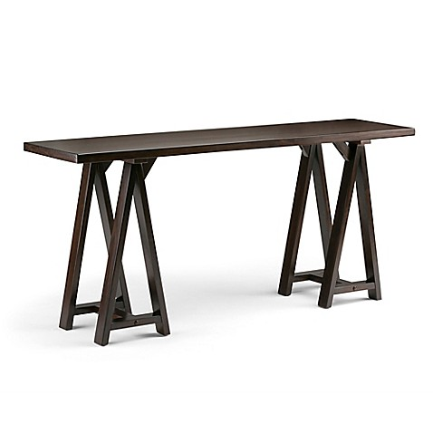 Buy simpli home sawhorse 66 inch wide console sofa table for Wide sofa table