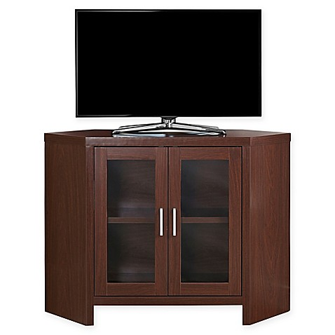 buy monarch specialties 42 inch corner tv stand with glass doors in cherry from bed bath beyond. Black Bedroom Furniture Sets. Home Design Ideas