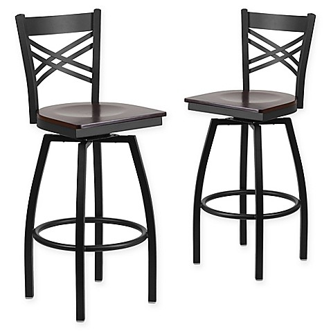 Buy Flash Furniture Quot X Quot Back Metal Wood Swivel Bar Stools