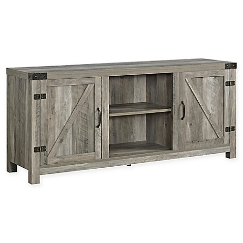 Image Of Walker Edison Wheatland Barn Door 58 Inch TV Stand With Side Doors