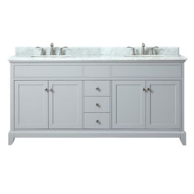 Buy Azzuri Aurora 61-Inch Double Vanity in Light Grey/White from Bed Bath & Beyond