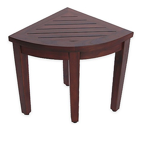 Buy Oasis Solid Teak Corner Shower Stool With Shelf From