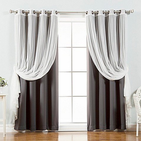Buy decorinnovation mix match tulle 96 inch blackout for Mix and match curtains colors