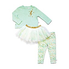 image of Rosie Pope® 3-Piece Fleece Top, Sparkle Skirt, and Pant Set
