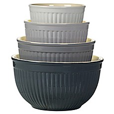 image of Denmark 4-Piece Ceramic Mixing Bowl Set in Grey