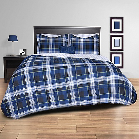 buy striking plaid 6 piece twin xl comforter set in black navy from bed bath beyond. Black Bedroom Furniture Sets. Home Design Ideas